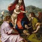 The Virgin And Child Between Saint Matthew And An Angel Art Print