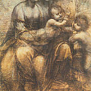 The Virgin And Child With Saint Anne And The Infant Saint John The Baptist Print by Leonardo Da Vinci