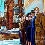 The War Years 1942 Montreal St Mathieu And De Maisonneuve Street Scene Canadian Art Carole Spandau Art Print