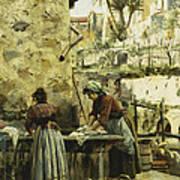 The Washerwomen Art Print by Peder Monsted