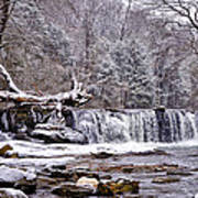 The Waterfall Near Valley Green In The Snow Art Print