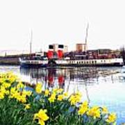 The Waverley Sails Down The River Clyde. Art Print