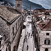 The White Tower In The Stradun From The Ramparts Art Print