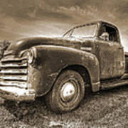 The Workhorse In Sepia - 1953 Chevy Truck Art Print