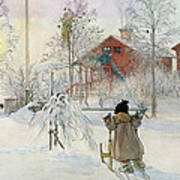The Yard And Wash House Art Print by Carl Larsson