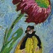 The Yellow Jacket Nymph Waiting Under A Cornflower.  Art Print