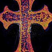 Thermal Cracked Glass Cross Light 2 Dark Art Print by Lisa Brandel