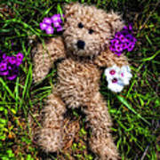 These Are For You - Cute Teddy Bear Art By William Patrick And Sharon Cummings Art Print