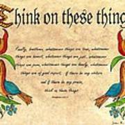 Think On These Things Fraktur Art Print