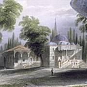 Third Court Of The Serai Bournou, C.1850 Art Print by William Henry Bartlett