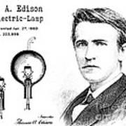 1880 Thomas Edison Electric Lamp Patent Art 2 Art Print