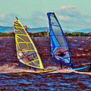 Three Amigo Windsurfers Print by Joseph Coulombe