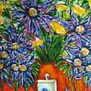 Blue Flowers Yellow And A Perfume Bottle Art Print
