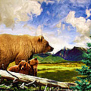 Three Bears In Montana Art Print