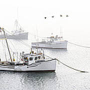 Three Boats Moored In Soft Morning Fog  Art Print
