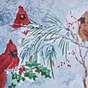 Three Cardinals In The Snow With Holly Art Print