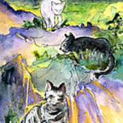 Three Cats On The Penon De Ifach Art Print