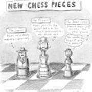 Three Chess Pieces Are Seen On A Chess Board Art Print