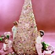 Three Children Eating A Candy Christmas Tree Art Print