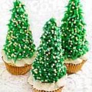 Three Christmastree Cupcakes  Art Print