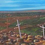 Three Crosses Of Tome Hill Art Print by Judy Lybrand