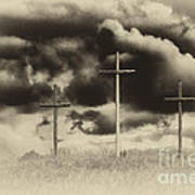 Three Crosses Sepia Art Print