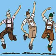 Three Dancing Oktoberfest Lederhosen Men Art Print