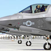 Three F-35b Lightning IIs At Marine Art Print
