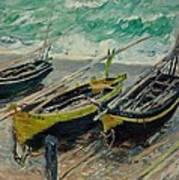 Three Fishing Boats Monet 1886 Art Print