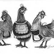 Three French Hens Print by J Ferwerda