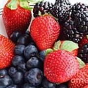 Three Fruit - Strawberries - Blueberries - Blackberries Art Print by Barbara Griffin