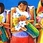 Three Girls With Flowers Art Print