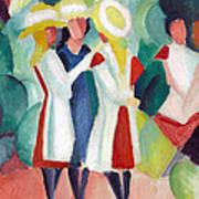 Three Girls With Yellow Hats Art Print