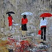 Three In The Rain Art Print