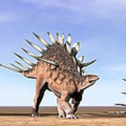 Three Kentrosaurus Dinosaurs Standing Art Print by Elena Duvernay