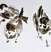 Three Little Birds Perch By My Doorstep Art Print