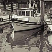 Three Little Boats Sepia Art Print