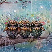 Three Little Night Owls Art Print by Karin Taylor