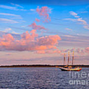 Three Masted Schooner At Anchor In The St Marys River Art Print