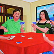 Three Men And A Lady Playing Cards Art Print