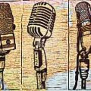Three Microphones On Map Art Print by William Cauthern