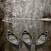 Three Old Canoes Art Print by Debra and Dave Vanderlaan