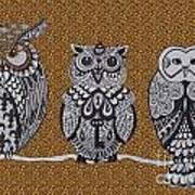 Three Owls On A Branch Leopard Print Art Print