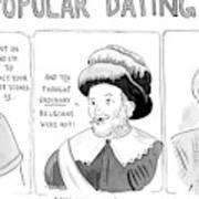 Three Panel Cartoon Of Online Dating Profiles Art Print