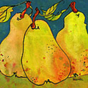 Three Pears Art  Art Print by Blenda Studio