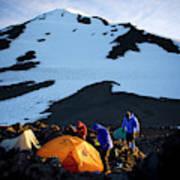 Three People Set Up Camp On Mount Adams Art Print