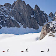 Three People Ski-tour On Karale Glacier Art Print