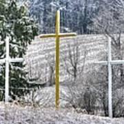 Three Roadside Crosses - Mount Airy Md Winter Art Print