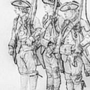 Three Royal American Soldiers Sketch Art Print