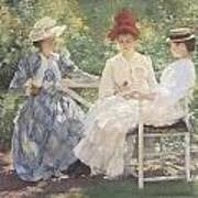 Three Sisters-a Study In June Sunlight Print by Edmund Charles Tarbell